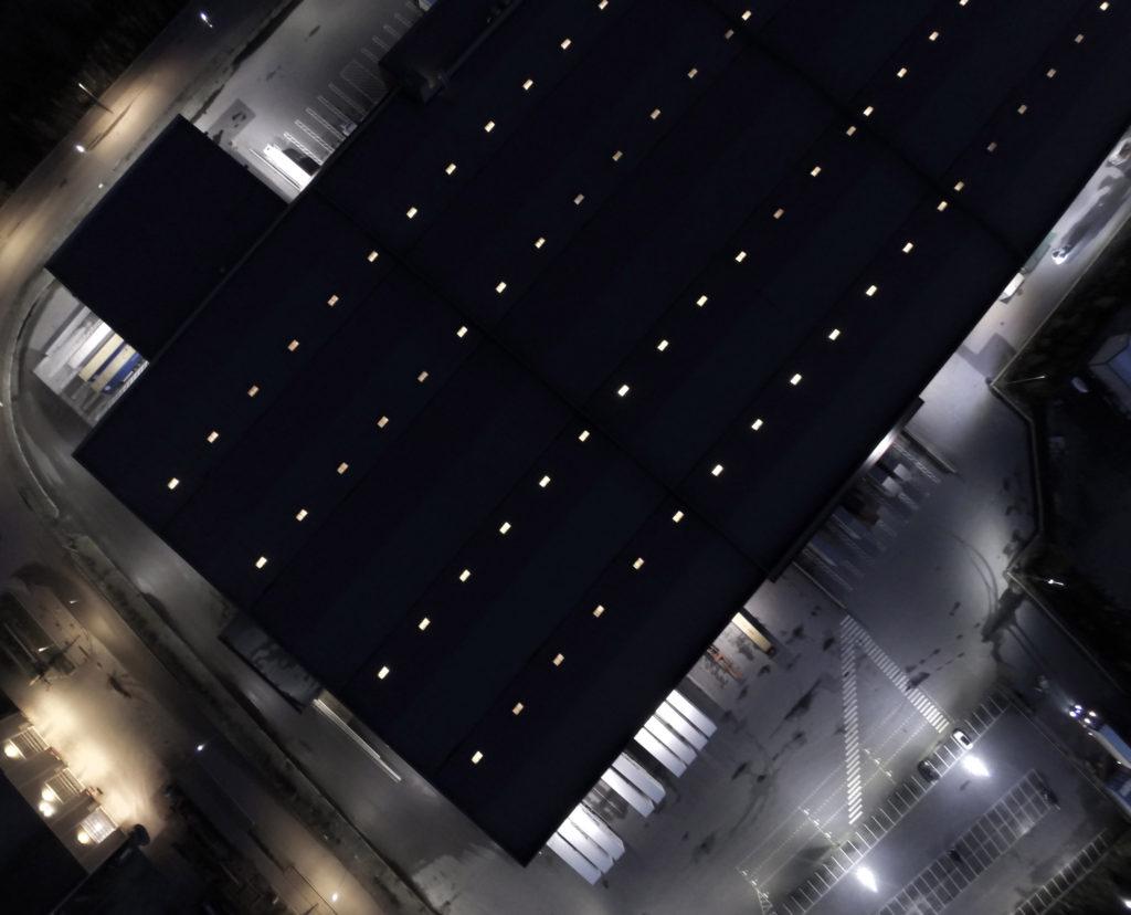 dronebilde over området til Europris lageret