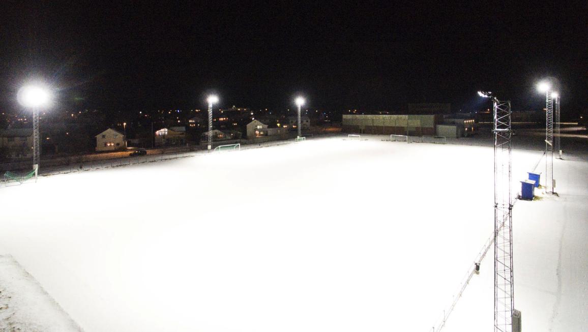 Andøya idrettsanlegg fotballbane stadion med led belysning