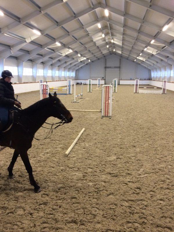 Rytter rir hesten sin igjennom lokalet under flott ny belysning.