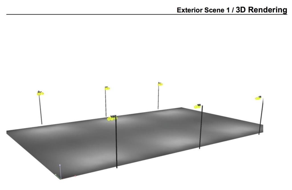 Selve 3D renderingen av idrettsbelysningen