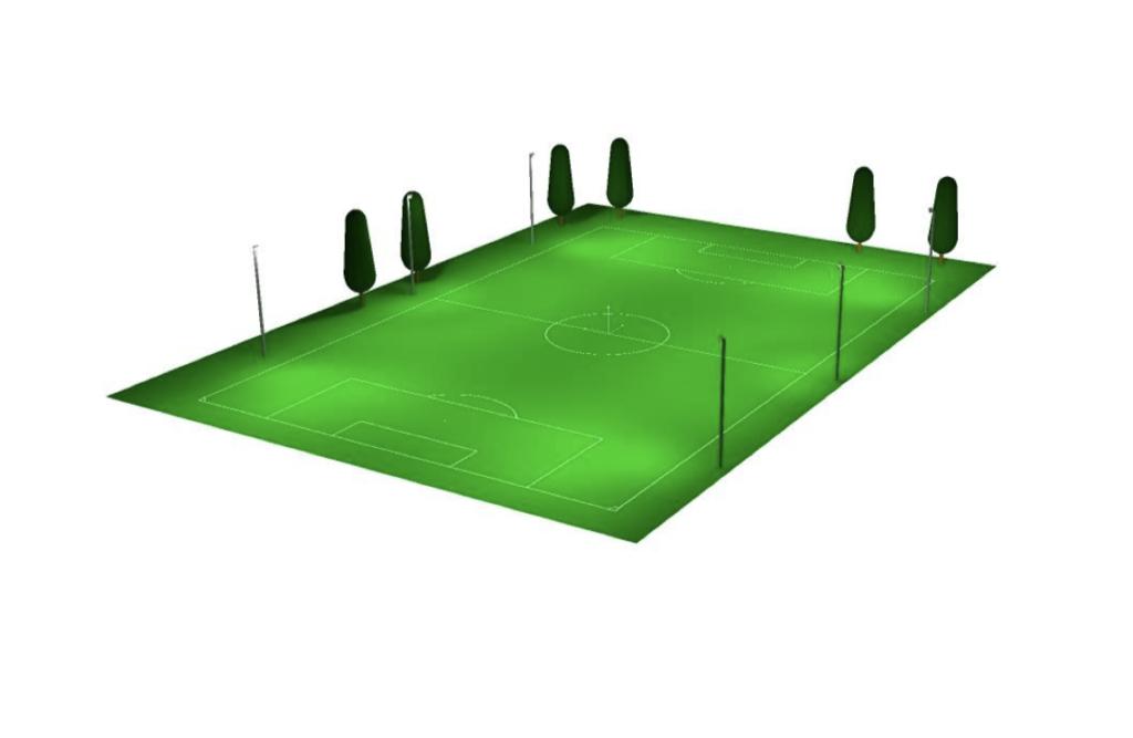 Grafisk tegnet lysberegning, som viser hvordan lyset spres på banen.