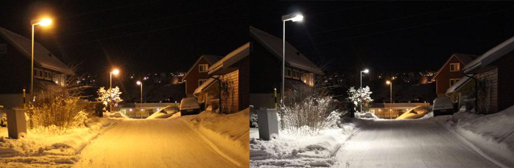 Sammenligning av LED-Gatelys og normale Gatelys om vinteren.
